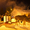 Horses at Christmas in the Village