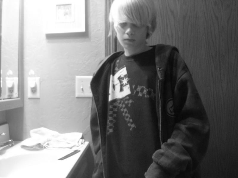 black and white pic of me in volcom and dc shirt