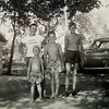 1 21 2014 At Grandpa's farm - Buddy and Tommy, Uncle Stan (rt) and his pal, Arlen Zee (Albany T shirt)  about 1955 CIMG5069