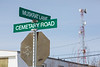 Fort Albany street sign: Muskrat Lane at Cemetary Road.