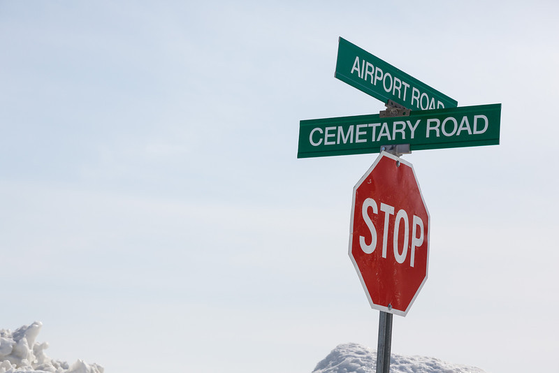 Fort Albany street sign: Airport Road at Cemetary Road.