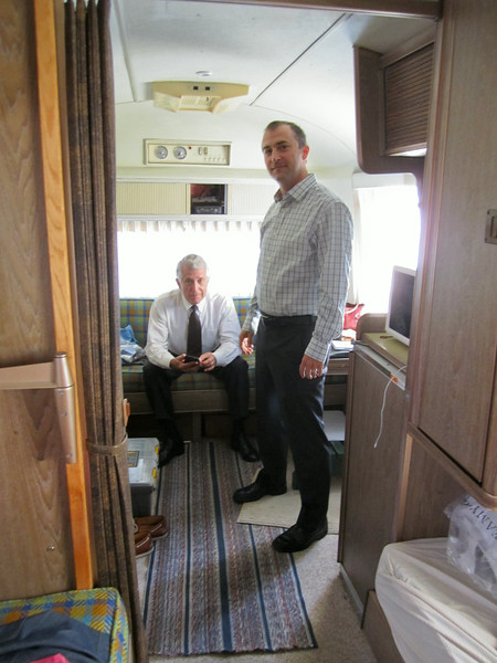 Dad and Matthew in dad's Airstream.