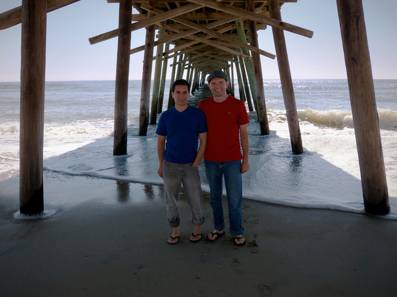 Ian and Wayne under the pier at Bogue Inlet, Emerald Isle, North Carolina.