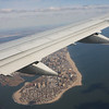 Views of Long Island and Manhattan from the air.