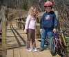 We stop by a bridge to rest our legs.  This was their first mountain bike outing.