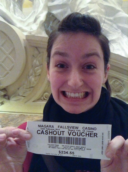 Haley nearly tripleed her money on this, her first night in a casino.