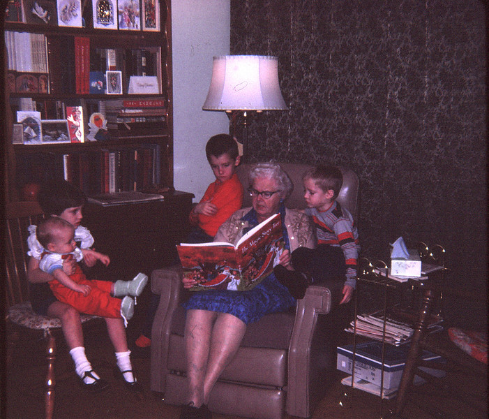 1967 12 2X-FEB68F4_18-Grandma Benoit reads to the kids