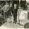 Uncle John Sims front porch in Los Angeles Whitney children after church, Howard E , Bettie, Bob, Martha, Mary