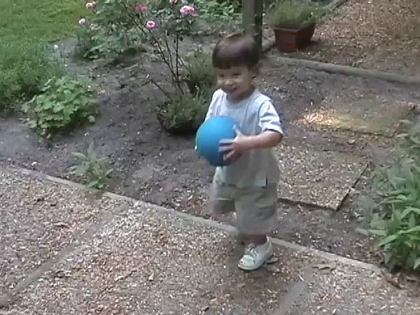 2004-5-16 - Ian kicking small blue ball outside at Holly Forks