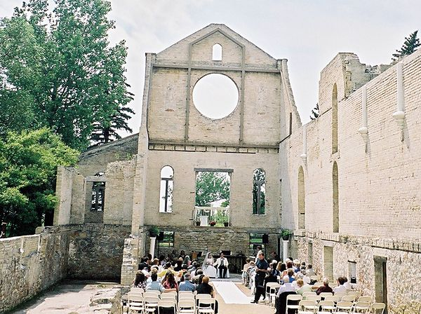 A wedding in the mostly ruined old church.