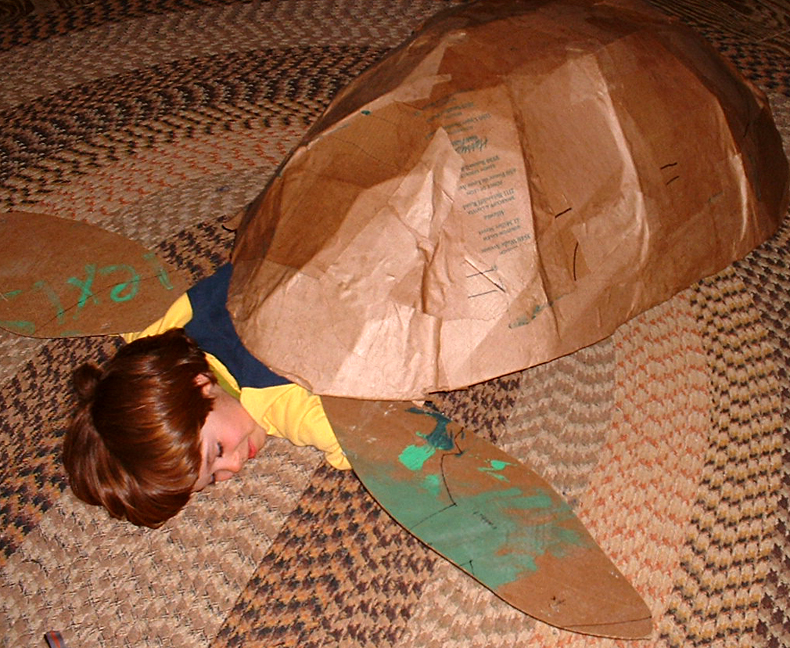 Adrian helped make this unfinished sea turtle costume at a crafts camp.