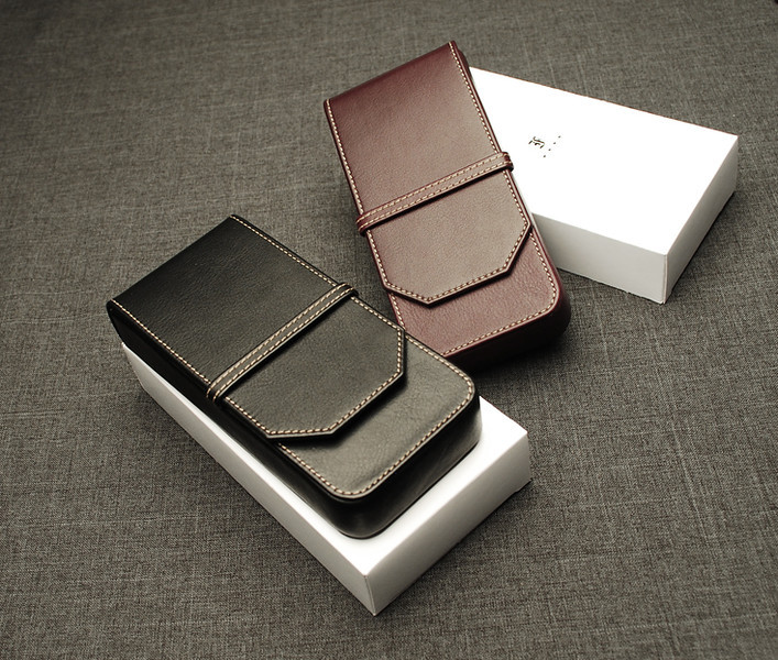 Three pen case in nappa leather.