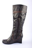 "Earthies ""Newcastle"" Tall Wedge Boot, Black with Brown Trim"