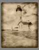 Yaquina Head lighthouse as seen in a faux aged treatment