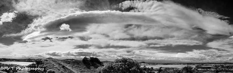 Cloud banks over the Manukau Harbour