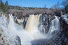 """PIGEON RIVER 4332<br /> <br /> """"Spring Ice and Rainbow at High Falls""""<br /> <br /> Grand Portage State Park, MN"""
