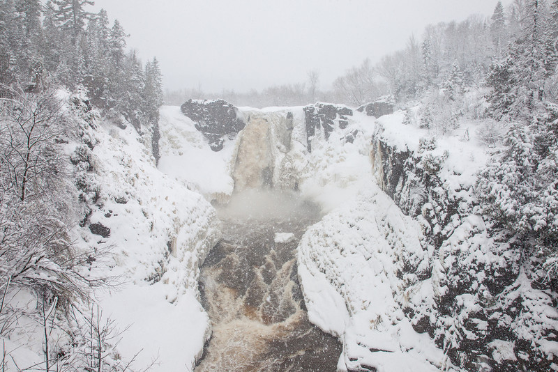 "PIGEON RIVER 3441  ""Spring Blizzard at High Falls""  Grand Portage State Park - April 17, 2014"