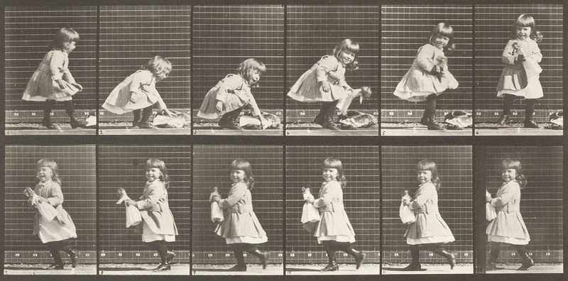 Child lifting doll and walking (Animal Locomotion, 1887, plate 481)
