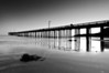 Fading Light at Cayucos Pier (black and white)