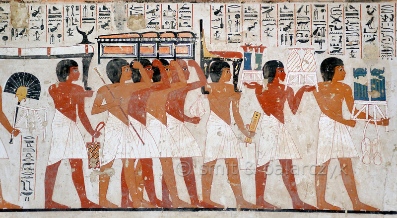 "[EGYPT 29337] 'Funeral procession in Ramose's tomb at Luxor.'  	A mural detail in Ramose's tomb shows a  procession of mourners transporting funerary goods to his tomb: a fan, a bed with headrest, chests, a chair, a scribe's palette, vases, sandals and boxes of shabtis. Ramose was an 18th dynasty 'Governor of the Town' (of Thebes) and Vizier during the transition of the reigns of Amenhotep III and Echnaton. His tomb (TT 55) is located in the Sheikh Abd el Qurnah Necropolis on the Westbank at Luxor and is one of the socalled ""Tombs of the Nobles"". It is uncertain whether he was ever buried in this tomb or that he followed Echnaton to his new capital near Amarna and was buried there. Photo Mick Palarczyk and Paul Smit."