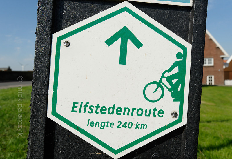 HOLLAND.FRIESLAND 30290] 'Signpost of Elfsteden bicycle route'.