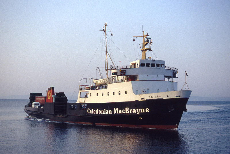 Caledonian MacBrayne MV Saturn approaching Wemyss Bay Feb 94