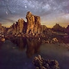 "<b>""STARS ON MARS""</b>  Mono Lake, California  The Milky Way galaxy explodes across the night sky over California's famous Mono Lake. The strange rock formations, called ""tufas"", are very strange indeed, and evoke feelings of the red planet."