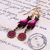 bright pink gloved hand fleur de lis charm french earrings