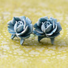 creamy blue rose floral flower post stud earrings