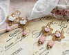 romantic vintage style earrings pink white gold rhinestones shabby chic cottage chic vintage stones