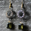filigree and dark green vintage glass stone earrings by Renee Hong jewelryfineanddandy Hollywood glam style - Copy