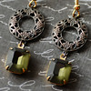 geometric earrings hollywood glam style vintage green glass rustic filigree circlets gold plated ear wires renee hong