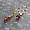 gold and pink dainty petite handmade earrings