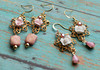 shabby chic cottage chic pink white roses russian goldplate haskell style handmade earrings