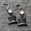 black top hat goth steam earrings with vintage moonstone opal stones