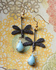 dragonfly earrings copper and vintage blue glass water droplets - Copy