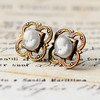 antiqued brass Victorian cameo post stud romantic earrings