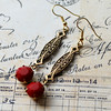 ruby scarlet red vintage glass and antiqued brass filigree earrings