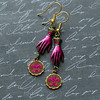 magenta fuschia hot pink fleur de lis glove hand earrings