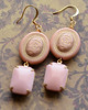 pink and gold earrings vintage glass stones and lucite beads