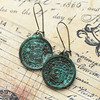 antiqued Spanish treasure pirate coin charm verdigris patina earrings