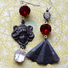 maiden with a fan asymmetrical jewelry handmade earrings hollywood glam glass stones black red white
