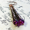 long filigree copper cone earrings vintage purple beads czech glass wire wrapped jewelry
