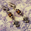 fleur de lis topaz brass earrings - Copy