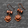 rosy copper rose gold rose and bow handmade earrings