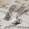 teapot teacup coffee asymmetrical silver charm feather earrings