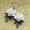 sakura cherry blossom aqua patina leaves earrings