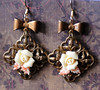 fall leaves roses and antiqued filigree brass handmade earrings jewelry fine and dandy
