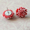 red and white chrysanthemum floral flower stud post earrings