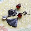 lady with fan asymmetrical earrings vintage red glass stones jewelryfineanddandy